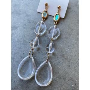 Free People Crystal Clear Asymmetrical Earrings